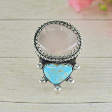Load image into Gallery viewer, Royston Turquoise & Rose Quartz Ring - Size 10 - Sterling Silver - Gem & Tonik