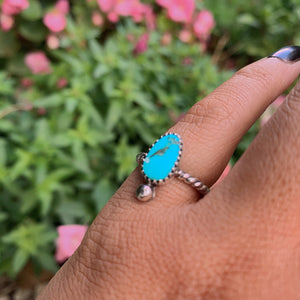 Kingman Turquoise Ring - Size 4 - Sterling Silver - Gem & Tonik