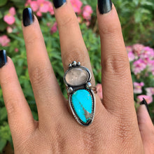 Load image into Gallery viewer, Turquoise Mountain Turquoise & Rose Quartz Ring - Size 8 - Sterling Silver - Gem & Tonik
