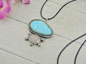 Campitos Turquoise & Rose Quartz Pendant - Gem & Tonik