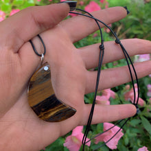 Load image into Gallery viewer, Crescent Moon Tiger's Eye Pendant - Sterling Silver - Gem & Tonik