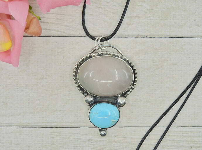 Bluebird Turquoise & Rose Quartz Pendant - Sterling Silver - Gem & Tonik