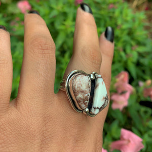 Wild Horse Magnesite Double Stone Ring - Size 8 3/4 - Sterling Silver - Gem & Tonik