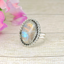 Load image into Gallery viewer, Rainbow Moonstone Ring - Size 5 - Sterling Silver - Gem & Tonik