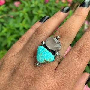 Dry Creek Turquoise & Rose Quartz Ring - Size 9 - Gem & Tonik