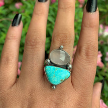 Load image into Gallery viewer, Dry Creek Turquoise & Rose Quartz Ring - Size 9 - Sterling Silver - Gem & Tonik