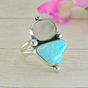 Dry Creek Turquoise & Rose Quartz Ring - Size 9 - Sterling Silver - Gem & Tonik