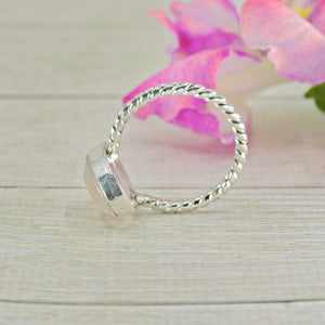 Faceted Rose Quartz Ring - Size 7 - Sterling Silver - Gem & Tonik