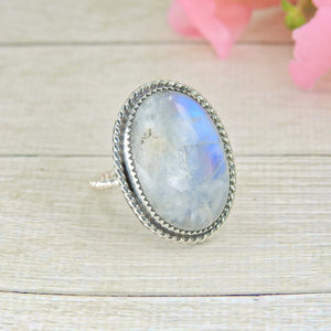 Large Moonstone Ring - Size 8 1/2 - Gem & Tonik