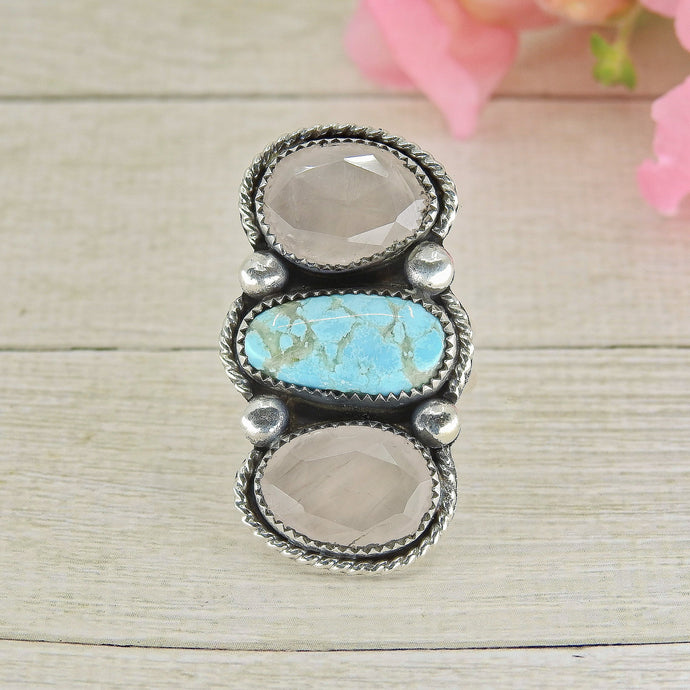 Dry Creek Turquoise & Rose Quartz Triple Stone Ring - Size 8 - Sterling Silver - Gem & Tonik