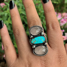 Load image into Gallery viewer, Dry Creek Turquoise & Rose Quartz Triple Stone Ring - Size 8 - Sterling Silver - Gem & Tonik