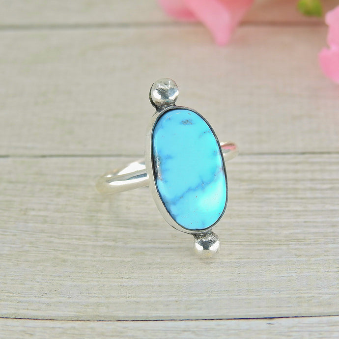Turquoise Mountain Turquoise Ring - Size 8 3/4 - Sterling Silver - Gem & Tonik