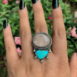 Royston Turquoise & Rose Quartz Ring - Size 10 - Gem & Tonik