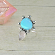 Load image into Gallery viewer, Sleeping Beauty Turquoise & Rose Quartz Ring - Size 6 - Gem & Tonik