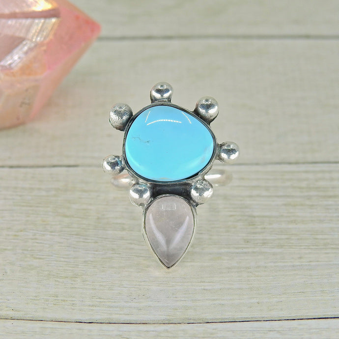 Sleeping Beauty Turquoise & Rose Quartz Ring - Size 6 - Sterling Silver - Gem & Tonik