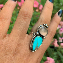 Load image into Gallery viewer, Turquoise Mountain Turquoise & Rose Quartz Ring - Size 8 - Gem & Tonik