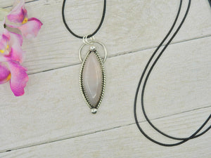 Marquise Rose Quartz Pendant - Sterling Silver - Gem & Tonik