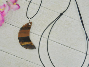 Crescent Moon Tiger's Eye Pendant - Sterling Silver - Gem & Tonik