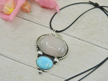Load image into Gallery viewer, Bluebird Turquoise & Rose Quartz Pendant - Sterling Silver - Gem & Tonik