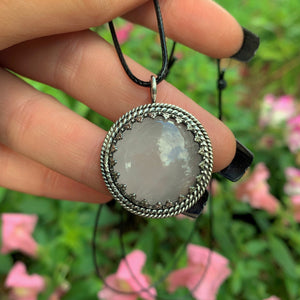 Round Rose Quartz Pendant - Sterling Silver - Gem & Tonik