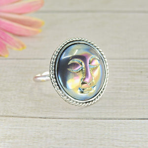 Titanium Aura Quartz Moon Goddess Ring - Size 8 3/4 - Sterling Silver - Gem & Tonik