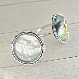 Your Custom Aura Quartz Moon Goddess Ring - Sterling Silver - Made to Order - Gem & Tonik