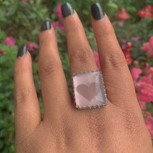Load image into Gallery viewer, Rectangular Rose Quartz Ring - Size 11 1/2 - Gem & Tonik