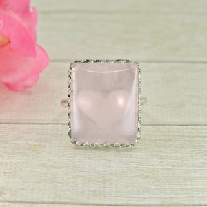 Rectangular Rose Quartz Ring - Size 11 1/2 - Gem & Tonik