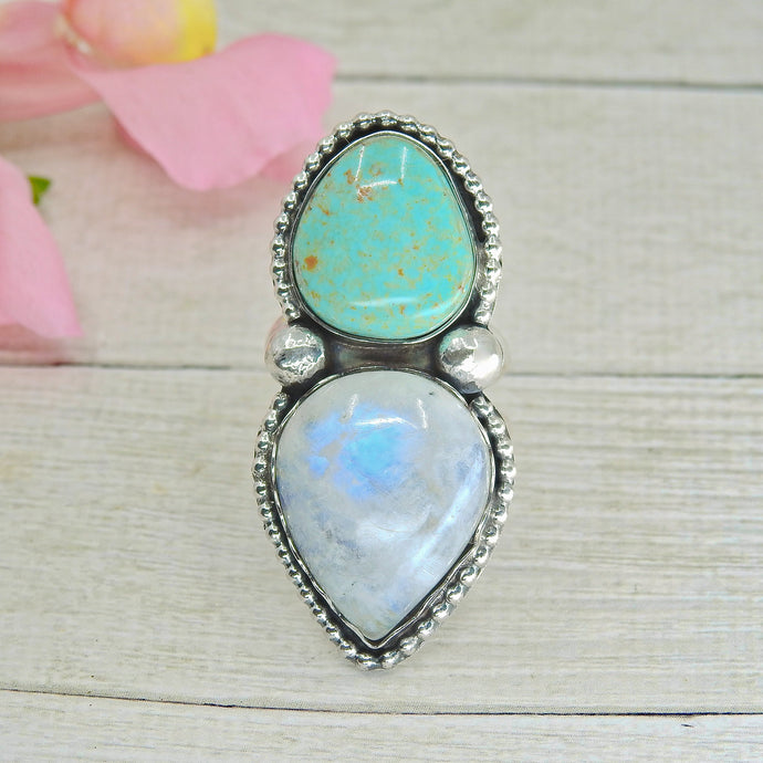 Royston Turquoise & Moonstone Ring - Size 7 1/4 - Sterling Silver - Gem & Tonik
