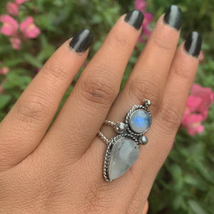 Double Moonstone Statement Ring - Size 7 1/2 - Sterling Silver - Gem & Tonik