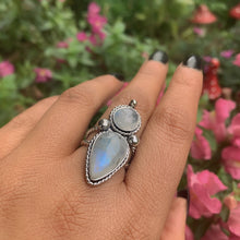 Load image into Gallery viewer, Double Moonstone Statement Ring - Size 7 1/2 - Sterling Silver - Gem & Tonik
