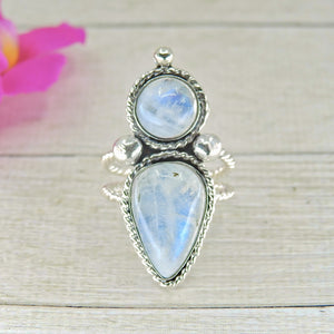 Double Moonstone Statement Ring - Size 7 1/2 - Gem & Tonik