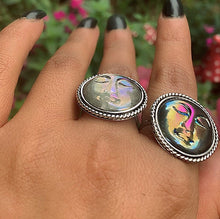 Load image into Gallery viewer, Your Custom Aura Quartz Moon Goddess Ring - Sterling Silver - Made to Order - Gem & Tonik