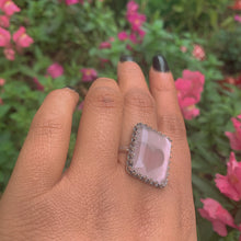 Load image into Gallery viewer, Rectangular Rose Quartz Ring - Size 11 1/2 - Sterling Silver - Gem & Tonik