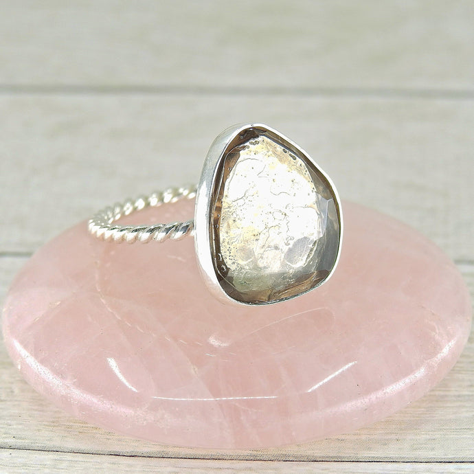 Faceted Smoky Quartz Ring - Size 10 1/2 - Sterling Silver - Gem & Tonik