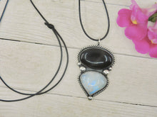 Load image into Gallery viewer, Obsidian & Moonstone Pendant - Sterling Silver - Gem & Tonik