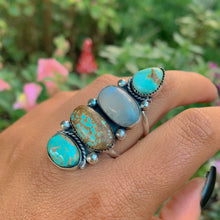 Load image into Gallery viewer, Number 8 Turquose & Moonstone Ring - Size 11 1/4 - Sterling Silver - Gem & Tonik