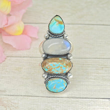 Load image into Gallery viewer, Number 8 Turquose & Moonstone Ring - Size 11 1/4 - Gem & Tonik