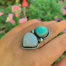 Load image into Gallery viewer, Royston Turquoise & Blue Moonstone Ring - Size 8 1/2 - Gem & Tonik