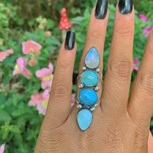 Load image into Gallery viewer, Royston Turquoise, Moonstone, Larimar & Morenci Turquose Ring - Size 6 1/2 - Gem & Tonik
