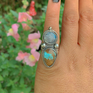 Number Eight Turquoise & Moonstone Ring - Size 5 - Sterling Silver - Gem & Tonik