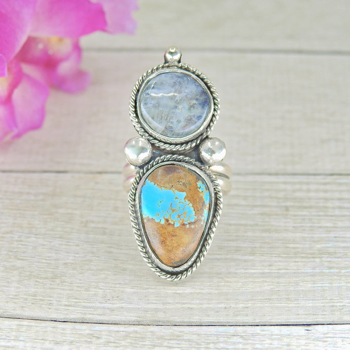 Number Eight Turquoise & Moonstone Ring - Size 5 - Gem & Tonik