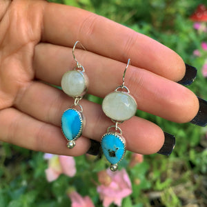 Morenci Turquoise & Moonstone Earrings - Gem & Tonik
