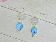 Load image into Gallery viewer, Morenci Turquoise & Moonstone Earrings - Sterling Silver - Gem & Tonik