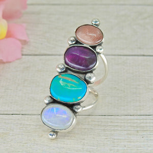 Moonstone, Amethyst, Rhodochrosite & King's Manassa Turquose Ring - Size 7 1/2 - Gem & Tonik