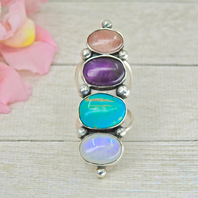 Moonstone, Amethyst, Rhodochrosite & King's Manassa Turquose Ring - Size 7 1/2 - Sterling Silver - Gem & Tonik