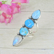 Load image into Gallery viewer, Royston Turquoise, Moonstone, Larimar & Morenci Turquose Ring - Size 6 1/2 - Sterling Silver - Gem & Tonik