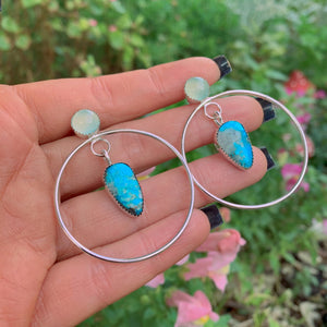 Kingman Turquoise & Aqua Chalcedony Earrings - Sterling Silver - Gem & Tonik