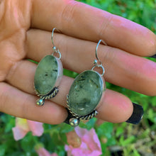 Load image into Gallery viewer, Prehnite & Black Tourmaline Earrings - Sterling Silver - Gem & Tonik