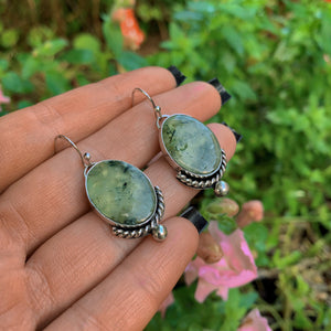 Prehnite & Black Tourmaline Earrings - Sterling Silver - Gem & Tonik